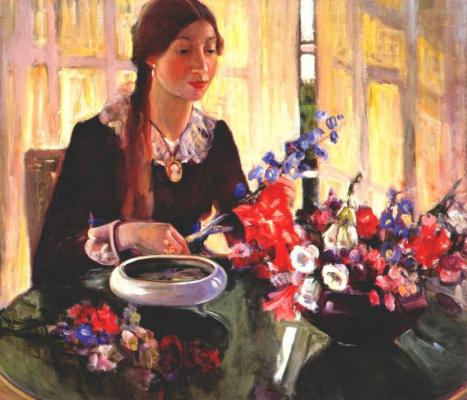 Елена Данлап. Молодая девушка с цветами