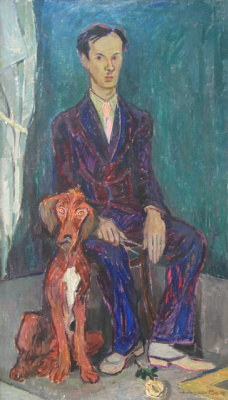 Tove Jansson. Portrait of Runar Engblom with a dog