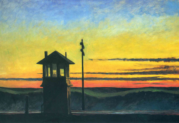 Edward Hopper. Sunset on the railway