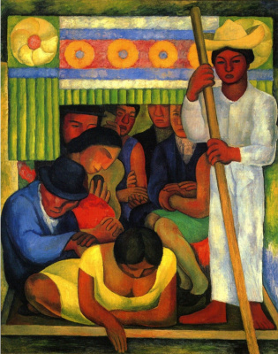 Diego Maria Rivera. In canoe
