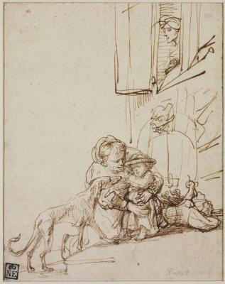 Рембрандт Харменс ван Рейн. Женщина и ребёнок, напуганный собакой