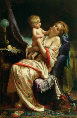 Leon Basile Perrot France 1832-1908. Motherhood. 1873