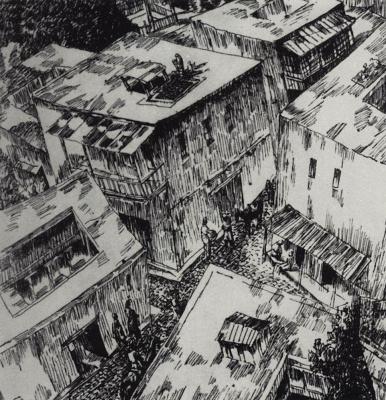 "Kuzma Sergeevich Petrov-Vodkin. Roof. Illustration to the book ""Samarkand"""