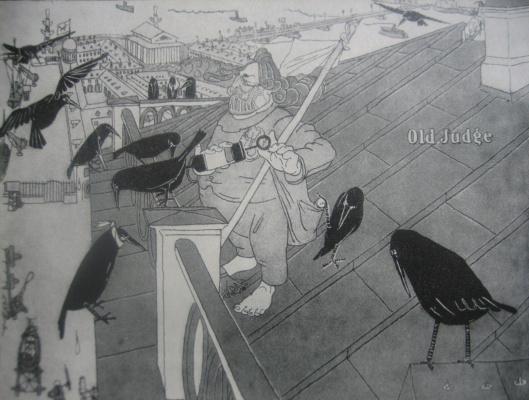 Пернатые пациенты  (А.И.Куинджи на крыше своего дома).Карикатура