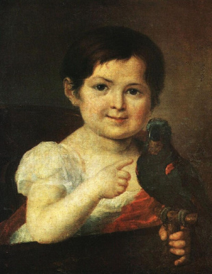 Vasily Andreevich Tropinin. Girl with a parrot
