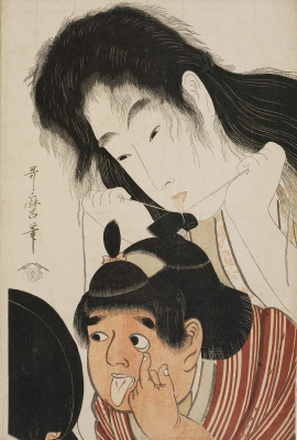 Kitagawa Utamaro. Yamauba tying hair Kintaro, grimacing before the mirror