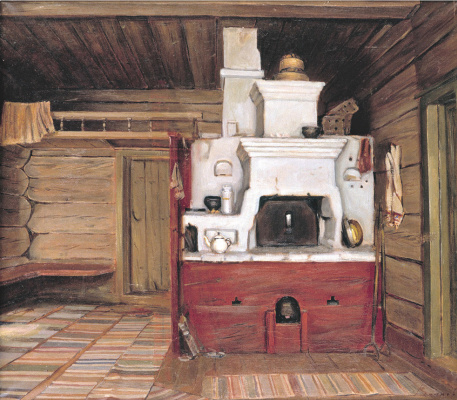 Yuri Nikolaevich Volkov. Interior with Russian stove. Tarnoga