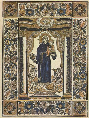 Xylograph from the prints of Estivil in Barcelona. Saint Anthony Of Padua