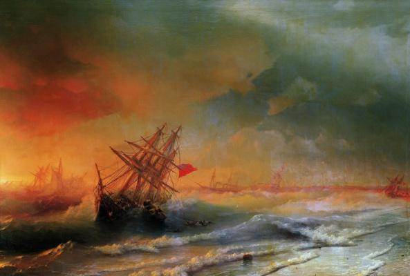 Ivan Aivazovsky. Storm over Evpatoria