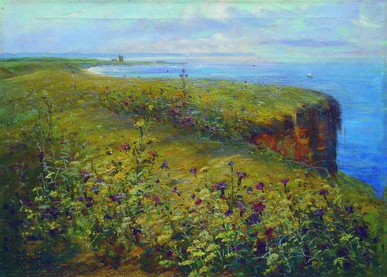 Konstantin Makovsky. Landscape (Sea and flowers)