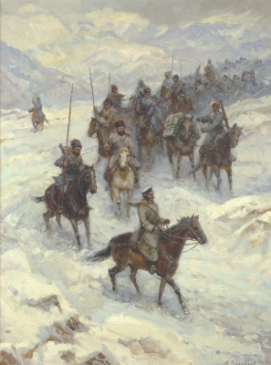 Aleksandr Chagadaev. Russian troops crossing the balkans