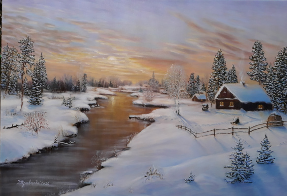 Nadezhda Nikolaevna Kravtsova. Winter landscape. Is partying