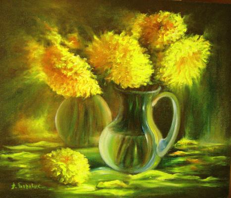 Andrei Ivanovich Boravik. Chrysanthemums (Yellow flowers)