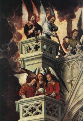 Hans Memling. Judgment. Triptych. Left wing: Saint Peter at the gates of Paradise meets the righteous. Fragment