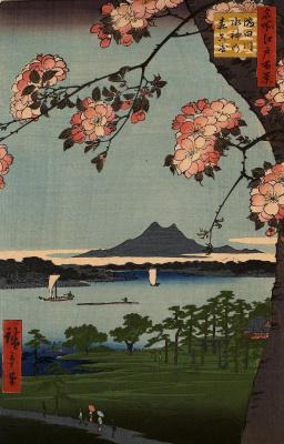 """Утагава Хиросигэ. Роща Суйдзин в Массаки, около реки Сумида. Серия """"100 знаменитых видов Эдо"""""""