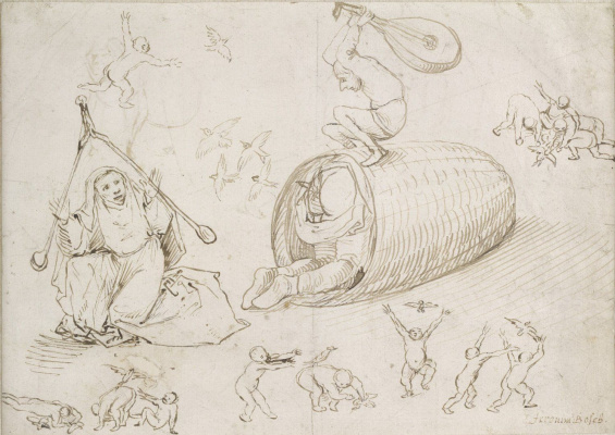 Hieronymus Bosch. Beehive and witches