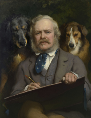 Edwin Henry Landseer. The connoisseurs: portrait of the artist with two dogs