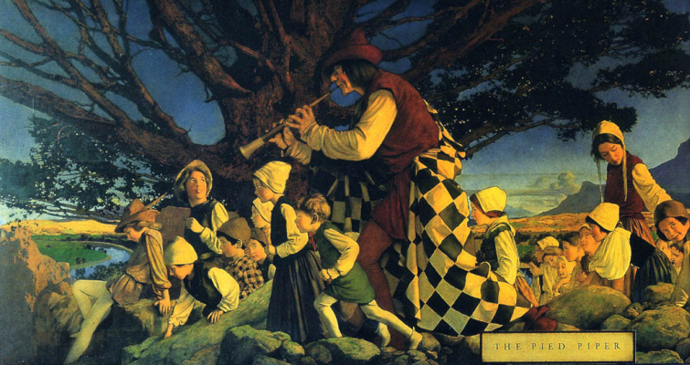 Maxfield Parrish. Pied Piper. Mural Palace Hotel in San Francisco
