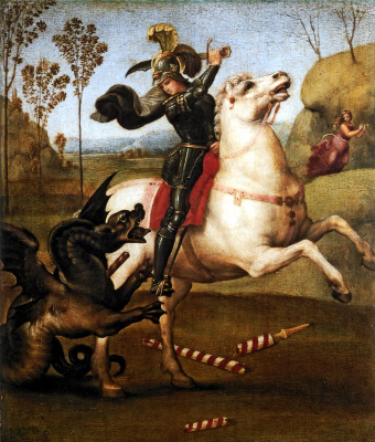 Raphael Santi. Saint George defeating the dragon