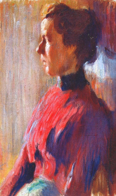 Mstislav Valerianovich Dobuzhinsky. Unknown woman in red