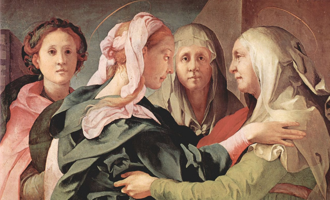 Jacopo Pontormo. Meeting of Mary and Elizabeth, fragment