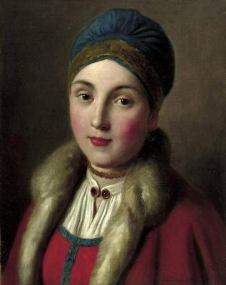 Пьетро Ротари. Портрет женщины с красным пальто с меховой отделкой, синей шляпой, белой блузкой