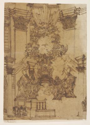 "Gian Lorenzo Bernini. The interior of the Church ""descent of the Holy spirit"""