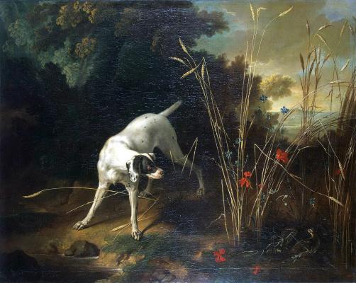 Жан-Батист Удри. Собака на стойке перед куропаткой
