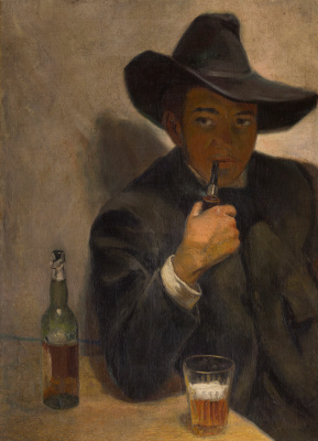 Diego Maria Rivera. Self-portrait in a broad-brimmed hat