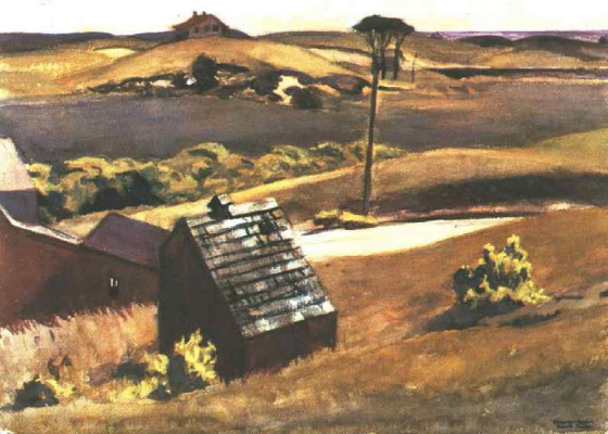 Edward Hopper. The coop and the barn Fat Cobb