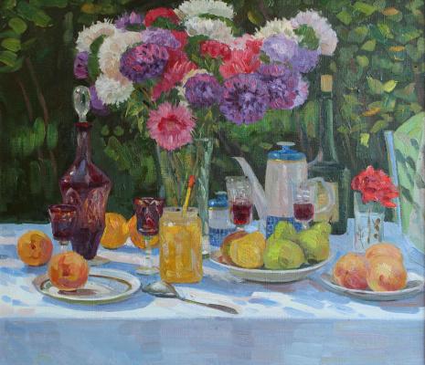 Eugene Alexandrovich Kazantsev. Still Life Asters honey pears.