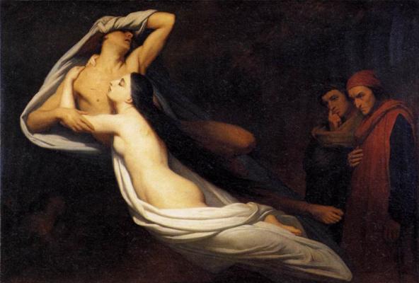 Ари Схеффер. Призраки Паоло и Франчески видимые Данте и Вергилию
