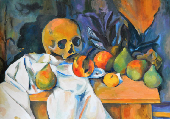 Елизавета Александровна Рыбина. Still life with a skull - a copy of the work of Paul Cezanne