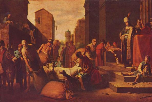 Братья с найденной у них чашей перед Иосифом
