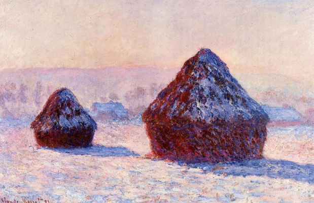Claude Monet. Haystacks in the morning. The effect of snow