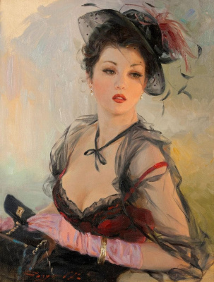 Constantine Razumov. Portrait of a young woman in a hat.