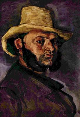 Поль Сезанн. Мужчина в соломенной шляпе