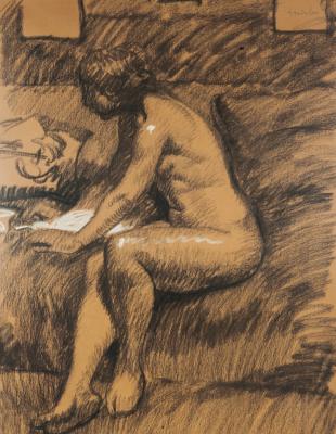 Theophile-Alexander Steinlen. Sitting model