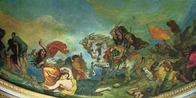 Eugene Delacroix. Attila tramples Italy and the Arts, detail