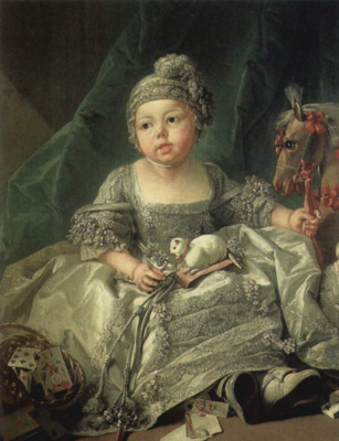 Francois Boucher. Portrait of Louis Philippe Joseph, Duke of Carlo, a baby
