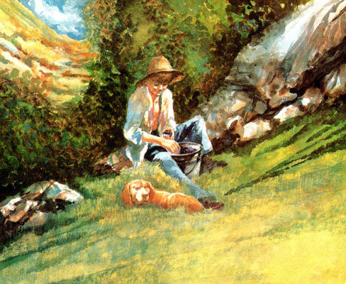Ronald Himler. A boy with a bucket of berries and my dog