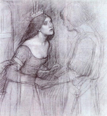 Джон Уильям Уотерхаус. Мужчина и женщина. Эскиз
