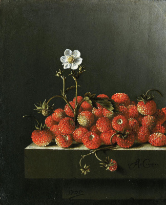 Adrian Coort (Coorte). Still life with wild strawberries