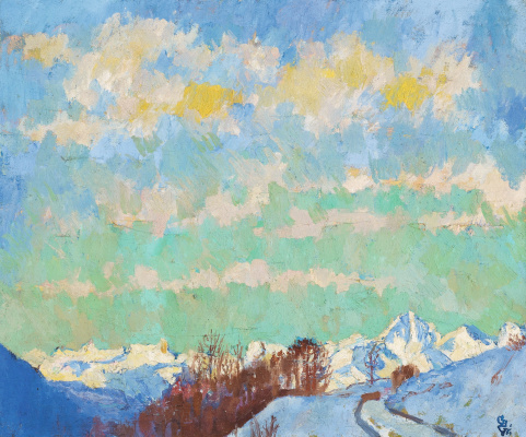 Giovanni Giacometti. The view of the mountains towards Italy
