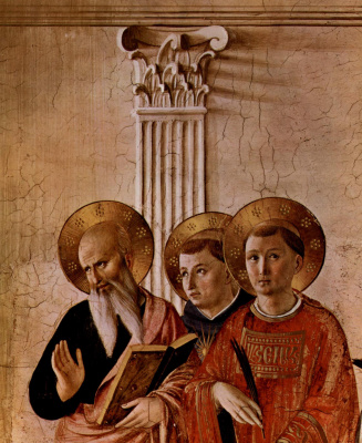"""Fra Beato Angelico. John the Theologian, Thomas Aquinas, the martyr Lawrence. Fragment of the fresco """"Madonna of the Shadows"""" of the Monastery of San Marco, Florence"""