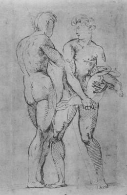 Raphael Sanzio. Two shepherd. The sketches of Nude figures