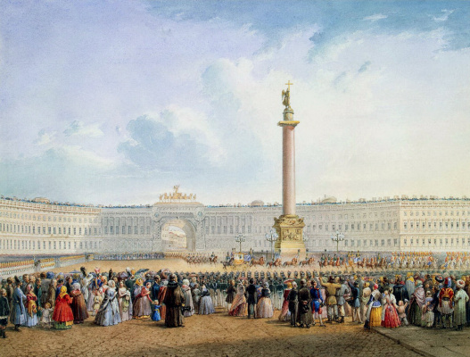 Vasily Semenovich Sadovnikov. View of the Palace square and General staff building in Saint Petersburg