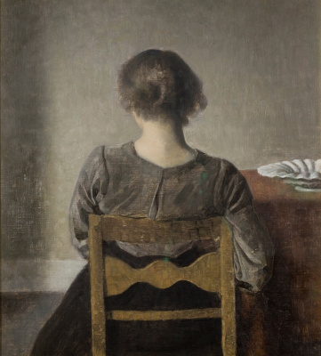 Vilhelm Hammershøi. Recreation. Young woman sitting with her back