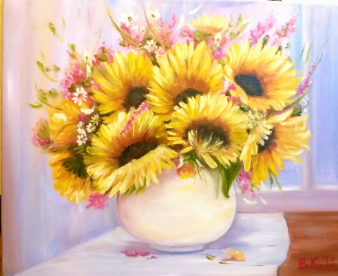 "Valeria Kostromina. Painting ""Sunflowers"""