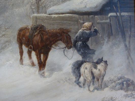 Nikolay Egorovich Sverchkov. A hunter caught in a winter Blizzard.